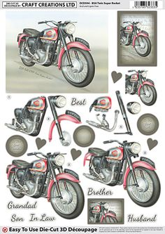 Craft Creations A4 die cut decoupage - BSA Twin Super Rocket, Motorcycle