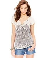 Lucky Brand Jeans Paisley-Print Tee
