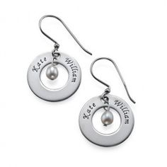 These Personalised Earrings with Two Names and Birthstone are stylish and fun. You can engrave up to 2 names on the pendant, and have an birthstone in the middle. Two names or words per set of earrings. Name Earrings, Custom Earrings, Name Necklace, Washer Necklace, Silver Earrings, Dangle Earrings, Diamond Earrings, Swarovski, Personalized Jewelry