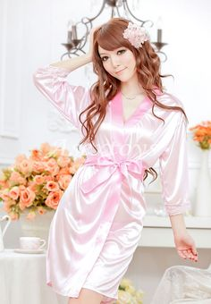 Slips Flesh Ice Silk Belt+Dress+T-string Sleepwear Set M Women Sexy Lingerie 0765c35571