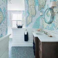 Blue Boys Bathroom with World Map Wallpaper