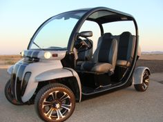 """AWESOME full custom GEM car show car just completed with everythign brand new - brand new black on gray """"SS"""" paint scheme with black rally stripes throughout. Gem Cars, Electric Scooter For Kids, Custom Golf Carts, Beach Buggy, City Car, Black And Grey, Gray, Car Show, Custom Cars"""