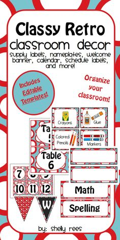 Classroom Decor with Editable Templates - Classy Retro Theme - Includes bin labels, calendar, nameplates, welcome banner, and lots more!  Editable templates help you personalize your classroom even more!