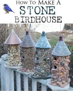 Stone birdhouses.
