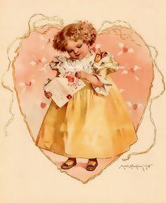 Maud Humphrey Baby's First Valentine Vintage Print REPRO 5x7 Fabric Block | eBay