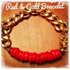 Red/coral beaded gold chain bracelet.  by AngelaLeBrunGrubbs, $20.00