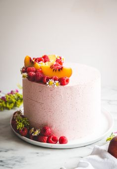 Almond Layer Cake with Peach + Mascarpone Filling & Raspberry Buttercream - Butterlust Brownie Desserts, Oreo Dessert, Mini Desserts, Coconut Dessert, Pumpkin Dessert, Pumpkin Cheesecake, Slow Cooker Desserts, Nake Cake, Cake Recipes