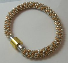Kumihimo Seed Bead Silver and Gold Bracelet by BusyBeadsNMaille