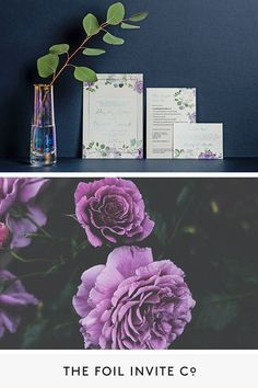 Foil Wedding Invitations - Choose Your Own Flowers Bespoke Design Foil Wedding Invitations, Personalised Wedding Invitations, Wedding Invitation Design, Wedding Stationery, Purple Wedding, Floral Wedding, Wedding Colors, Wedding Flowers, Olive Plant