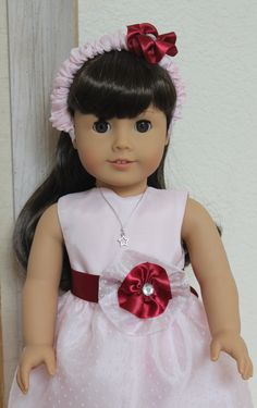 American Girl Doll Clothes Fancy Pink Dotted Dress will fit most other 18 inch dolls by Sariahsdollcloset on Etsy