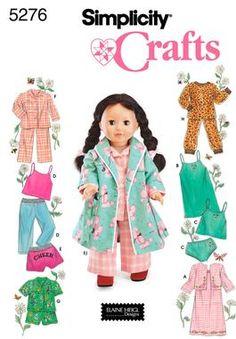 5276 Doll Clothes    Simplicity doll pattern - 5276 Sleepwear and Loungewear Wardrobe for 18 Inch Dolls