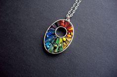 Chakra Rainbow Glowing Glass Micro Mosaic by CrookedMoonMosaics