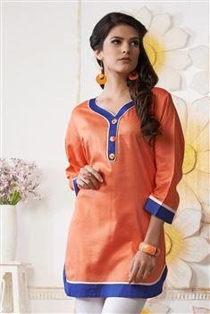 Orange Short Cotton Kurtis