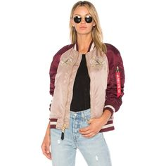 ALPHA INDUSTRIES MA-1 Souvenir Eagle Jacket ($255) ❤ liked on Polyvore featuring outerwear, jackets, coats & jackets, zip pocket jacket, zip jacket, nylon snap jacket, pink jacket and alpha industries