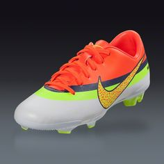 Nike Junior Mercurial Veloce CR FG - White/Volt/Total Crimson  Firm Ground Soccer Shoes