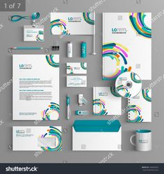 Colorful stationery template design with art round elements. Documentation for business.