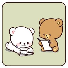 No photo description available. Cute Couple Cartoon, Cute Love Cartoons, Cute Cartoon Pics, Cute Love Pictures, Cute Love Gif, Cute Bear Drawings, Kawaii Drawings, Kawaii Love, Bear Instagram