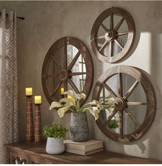 Moravia Round Reclaimed Wood Wagon Wheel Wall Mirror by Signal Hills Diameter), Brown wood furniture living room decorating ideas Country Decor, Rustic Decor, Farmhouse Decor, Farmhouse Style, Country Western Decor, Rustic Entryway, Deco Pizzeria, Home Decor Outlet, Diy Home Decor
