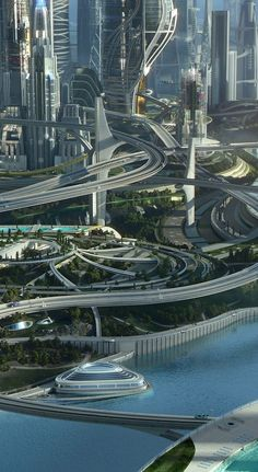 """Tomorrowland """"Dreamers need to stick together. Tomorrowland, the exciting action-adventure fantasy film, comes out on Blu-ray™, Digital HD & Disney Movies Anywhere Oct. Cyberpunk City, Futuristic City, Futuristic Technology, Futuristic Architecture, Amazing Architecture, Technology Gadgets, Futuristic Design, City Architecture, Tech Gadgets"""