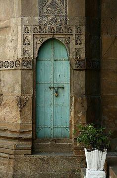 Beautiful Carved Architecture and Baby Blue Door Cool Doors, The Doors, Unique Doors, Windows And Doors, Arched Doors, When One Door Closes, Knobs And Knockers, Door Gate, Closed Doors