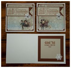 """Scrapbooking. Got an order for some christmas cards. Cardstock bazzill and Reprint/ Paper Accents. DP Maja Design """"Vintage Frost Basic"""". Stamp on the front from Reprint. Stamp on inside unkown. Snowflake punch dies  from QuicKutz.. Made by Kirsi Arvidsson"""