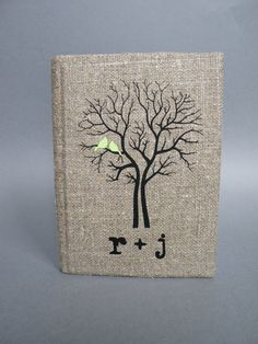 Wedding rustic guest book burlap Linen Wedding guest book Bridal shower engagement anniversary Mint green birds on black tree and initials on Etsy, $39.00 Bridal Showers
