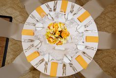 Nude & yellow table arrangements