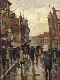 View of the Westerwagenstraat, Rotterdam, Cor Noltee. Dutch (1903 - 1967)
