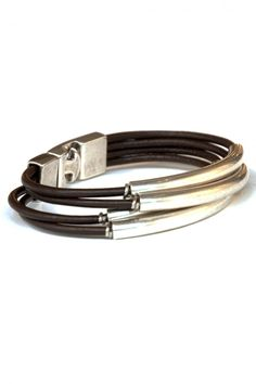 Men's Uno de 50 Leather and Stainless Steel Bracelet