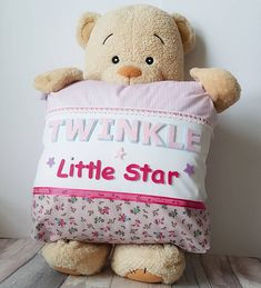 """A stunning focal point in your little ones nursery or bedroom, this beautiful Ella style """"Twinkle little Star""""  cushion features luxury designer fabric with varsity felt lettering and stars that makes this extra special and adds a really chic finishing touch to any room Little Star, Little Ones, Star Cushion, Felt Letters, Luxury Designer, Twinkle Twinkle, Fabric Design, Cushions, Nursery"""