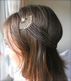 Vintage look asian fan multi strand chain head band. Headlette.. $28.00, via Etsy.