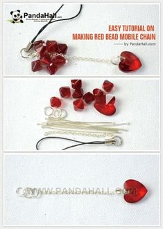 Easy Tutorial on Making Red Bead Mobile Chain | easy crafts by wanting