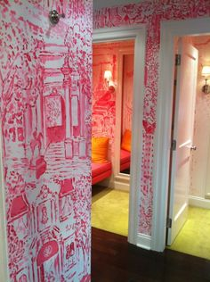 Paige Smith's dressing rooms for Lilly Pulitzer. Would be wonderful in a girl's bedroom.