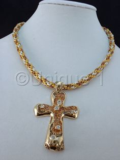 """Contemporary Jewelry - """"Golden Cross Necklace and Earrings"""" (Original Art from Unique 1)"""