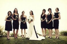 Bridesmaid dresses :  wedding bridesaid dress Black Bridesmaid Dresses. All the gals pick a black dress that is knee length or longer (depending on season) That suits them...gold/silver jewelry of choice. moms can wear black or gold or silver...bronze etc...