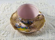 Vintage 1940's Colclough Bone China Crinoline Lady Gold Chintz Tea Cup. $45.00, via Etsy.
