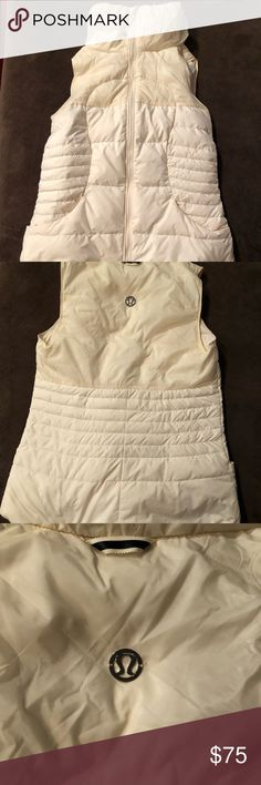 Lululemon vest sz 6 Cream puffy vest. Thin silhouette. Scoop down in Back to cover bum. Size 6. Good condition lululemon athletica Jackets & Coats Vests