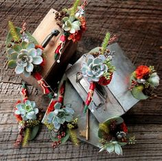 Succulent boutonnieres in fall