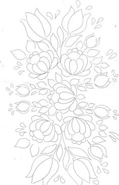 Folk Embroidery Patterns Floral Bunch pattern for painting / embroidery / applique / . Love the flourishing Happy effect of this design ! Ribbon Embroidery, Embroidery Applique, Embroidery Stitches, Embroidery Patterns, Machine Embroidery, White Embroidery, Tole Painting, Fabric Painting, Coloring Books