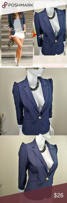 "Express Pinstripe Puffy Sleeve Blazer A pinstriped blazer is easy to take from work to weekend in style.rocks. this modern nautical look with this pinstriped navy blazer, striped tee and white shorts or pick your fleek. In excellent condition like new.. ?Puffy sleeves ?Flattering gold buttons ?Chic look Length ""24"" Shoulder to shoulder ""14"" Sleeve Length ""25"" Armpit to armpit ""18"" Express Jackets & Coats Blazers"