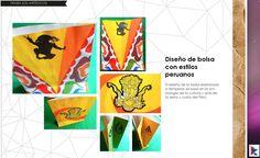Bolsa de papel con motivos peruanos, ayacuchanos, hechos a témpera.