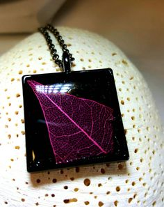 "Pink Skeleton Leaf in 1"" Square Bezel, Resin Filled Black Bezel with Real Dyed Pink Skeleton Leaf, Real Leaf Necklace on 18 inch rolo chain - pinned by pin4etsy.com"