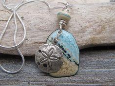 Seascape Enamel Pendant Copper Freeform Disk  Enamel Jewelry  Blue Tan Seafoam