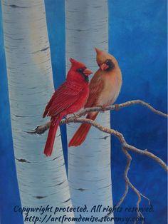 Bird art, cardinal painting, birch tree art, aspen tree, bird artwork, wall art. Red blue decor, red blue art. Large original, canvas. 24x18...