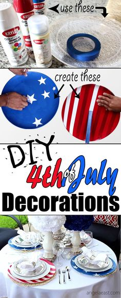 DIY Fourth of July Decorations Stars & Stripes Chargers   DIY Home Decor   Outdoor Living   Entertaining   Party Decor  Tablescape   Table Setting   4th of July   Dollar Tree DIY