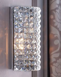 Shop Crystal Dome Sconce from Crystorama at Horchow, where you'll find new lower shipping on hundreds of home furnishings and gifts. Sconces Living Room, Bathroom Wall Sconces, Modern Wall Sconces, Bathroom Lighting, Glass Bathroom, Crystal Sconce, Crystal Wall, Interior Exterior, Sconce Lighting