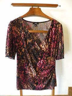 agb, black print, wrap style blouse, size medium #AGB #Blouse