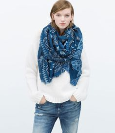 Image 1 of PAISLEY PRINT SCARF from Zara