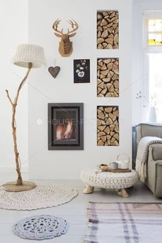 Wall inserts next to a wood burning fireplace Home Living Room, Interior Design Living Room, Interior Decorating, Living Room Inspiration, Interior Inspiration, Beton Design, Home And Deco, Scandinavian Interior, Decoration