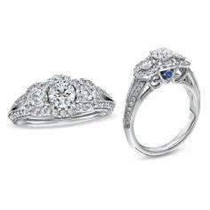 1.00 CT.Semi Mount Three Stone Rd D/VVS1 Diamond White GP Halo Engagement Ring…